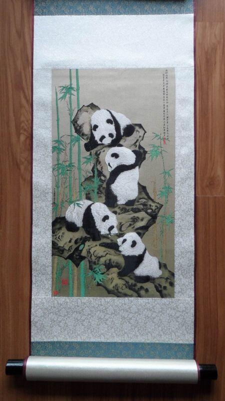 熊猫蜀锦步步高升