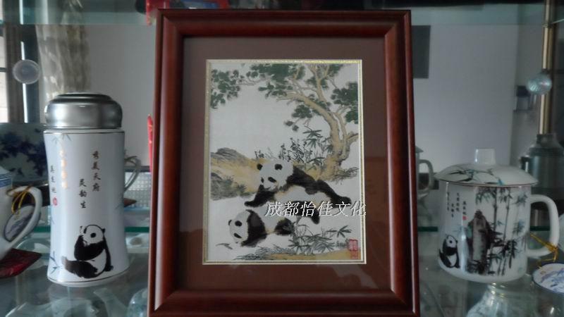 熊猫蜀锦镜框