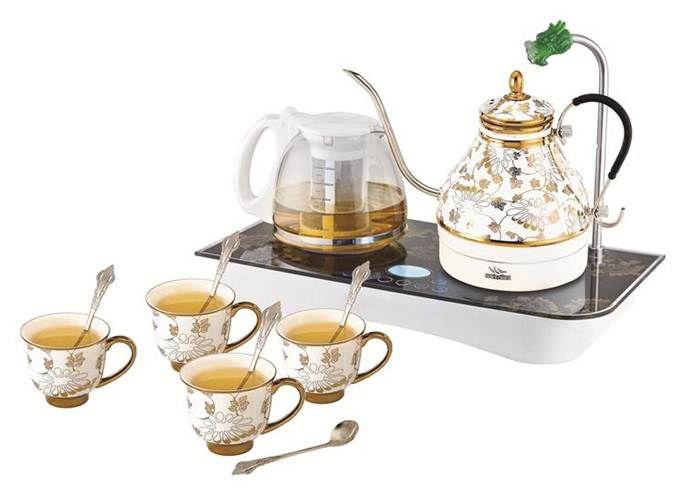 烁之乔电热陶瓷水壶套装自动上水黄金藤花